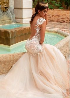 crystal design 2017 bridal sleeveless with strap sweetheart neckline heavily embellished bodice tulle fit and flare mermaid wedding dress low back royal train (solange) zbv -- Crystal Design 2017 Wedding Dresses Wedding Dress Low Back, Wedding Dresses With Straps, Fit And Flare Wedding Dress, Sweetheart Wedding Dress, Lace Mermaid Wedding Dress, Perfect Wedding Dress, Mermaid Dresses, Dream Wedding Dresses, Designer Wedding Dresses
