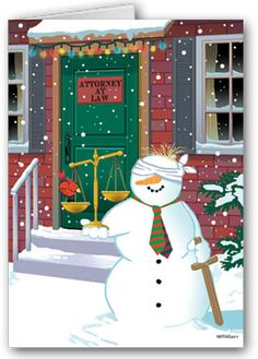 What a great holiday card for a lawyer! Injured snowman outside of a lawyers office! Happy Holidays and stay safe (and in case of an accident, call your favorite attorney). Attorney Snowman Lawyer Card. Happy Holidays greeting card!
