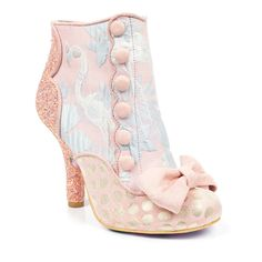 Irregular Choice gives a nod to the edwardian era with these gorgeous pastel pink ankle boots. Featuring an embroidered flamingo and floral fabric upper, scalloped and button detail, polka dot toe with a soft bow and a holographic pink glitter encrusted c Fancy Shoes, Pretty Shoes, Crazy Shoes, Beautiful Shoes, Cute Shoes, Me Too Shoes, Top Shoes, Pink Ankle Boots, Shoe Boots