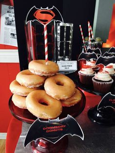 Doomsday donuts at a Batman vs Superman birthday party! See more party ideas at CatchMyParty.com!