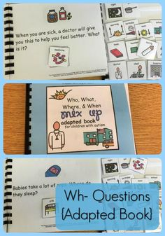 We have an obsession with Wh- Questions. This adapted book – Who, What, Where, & When – Mix Up! Adapted Book - helps lower functioning students isolate skills & work on discrimination so your kiddos can answer these questions in any order at any time! From theautismhelper.com