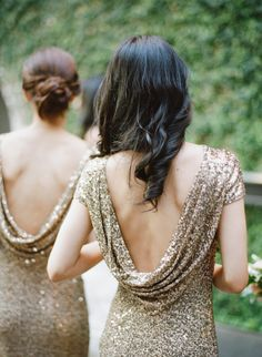 Glam cowl back glittery bridesmaid dresses: http://www.stylemepretty.com/little-black-book-blog/2016/02/16/glamorous-black-tie-wedding-at-the-foundry/   Photography: Rebecca Yale - http://rebeccayalephotography.com/