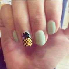 Here are some hot nail art designs that you will definitely love and you can make your own. You'll be in love with your nails on a daily basis. Cute Nail Art, Cute Nails, Pretty Nails, Hair And Nails, My Nails, Pineapple Nails, Image Nails, Cool Nail Designs, Creative Nails