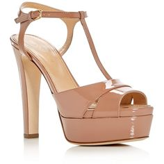 Sergio Rossi Edwige T-Strap High Heel Platform Sandals (£676) ❤ liked on Polyvore featuring shoes, sandals, heels, salto, nude, high heel shoes, nude heel shoes, nude platform shoes, nude heeled sandals and high heel platform sandals