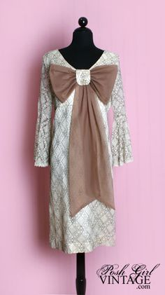 1960's Beige Lace Mod Bow Dress