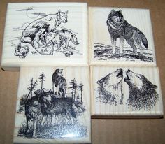 Lot of 4 Brand New Mounted Rubber Stamp  - WOLF WOLVES ANIMALS AbracadabraStamps.com