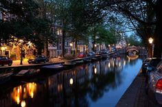 Man Made Amsterdam Netherlands Reflection Night City Light River Wallpaper Amsterdam Images, Amsterdam City, Amsterdam Netherlands, Amsterdam Canals, Places Around The World, The Places Youll Go, Places To See, Around The Worlds, Vacation Places