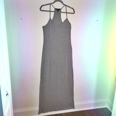 """Racerback Basic Gray Maxi New without tags! Measures 60"""" from shoulder to basehem. Spaghetti strap racerback and super soft jersey material make the perfect everyday maxi dress. The accessories you could glam this up with are endless! Forever 21 Dresses Maxi"""