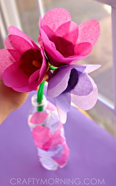 Tissue Paper & Egg Carton Tulips - Great Spring craft for kids or a homemade Mother's Day gift! | CraftyMorning.com
