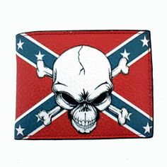 Purple Leopard Boutique - Men's Rebel Confederate Flag Genuine Black Leather Wallet w/ Skull