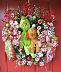 Grinch Wreath, Grinch plush, Grinch Christmas Wreath, How the Grinch Stole Christmas, X-large, Peppermint on Etsy, $149.99