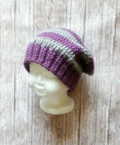 crochet Slouchy hatpurple and gray slouchyhatgift by hana31