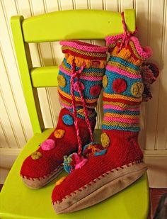 Knitted Slipper Boots Patten