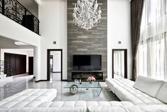 35 Nice Luxury White Living Room Decoration Ideas - A white living room is becoming a trend in most houses today because it exudes utmost cleanliness and neatness. In fact, majority of people who prefer. Living Room Decor Eclectic, Elegant Living Room, Formal Living Rooms, Living Room Interior, Living Room Designs, Black And White Living Room Decor, High Ceiling Living Room, Luxury Decor, Luxury Living