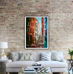 Small town alley acrylic on canvas Acrylic painting by Alina Run-Latowska Beauty Art, Small Towns, Canvas, Dark, Interior, Painting, Home, Tela, Indoor