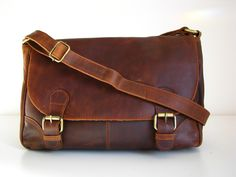 Brown Leather Cross Body Handbag. $120.00, via Etsy.