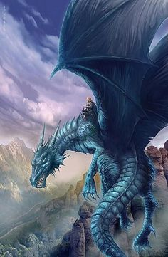Knight riding blue dragon above mountain landscape
