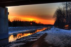 Sunset Under the Redman Road Bridge on the Erie Canal Pathway
