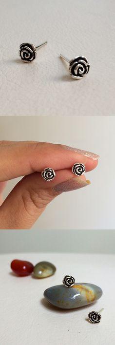 flower earring - tiny flower silver earring - small rose flower earring - flower ear pin - rose flower ear cuff - silver flower ear pin.By LalipArt