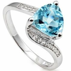 1.94 CT BLUE TOPAZ & WHITE SAPPHIRE GEMSTONE 925 STERLING SILVER RING AU $55