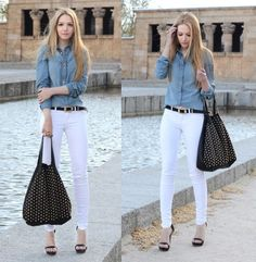 White skinny jeans with denim top. It's all about Denim tops this fall!!!