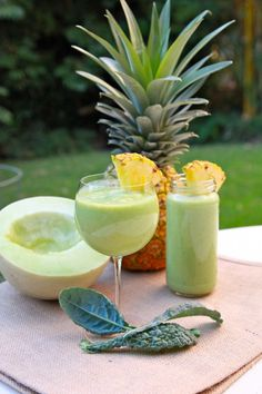 Hawaiian Smoothie - Honeydew, Pineapple (note to self-omit soymilk or replace with homemade almond milk)