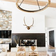 Modern Mountain Home: Living Room, Antlers Studio McGee