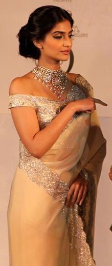 sonam kapoor rocking an off-the-shoulder embellished blouse