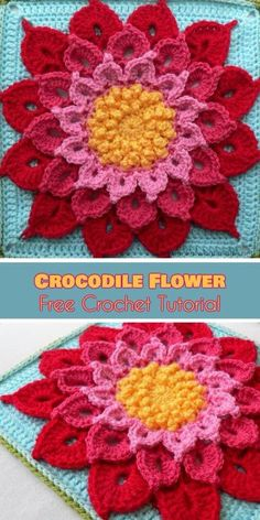 Best 12 Crocodile Flower Square Free Tutorial and Crochet Pattern. This beautiful afghan block is magical. This pattern, created by the gifted designer Joyce D. Lewis, can make anon-crocheter fall in love so deeply, that they will soon became a crocheter. Crochet Flower Squares, Crochet Sunflower, Crochet Mandala Pattern, Crochet Flower Tutorial, Granny Square Crochet Pattern, Crochet Flower Patterns, Afghan Crochet Patterns, Crochet Granny, Crochet Roses