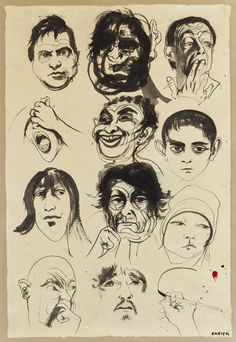 Head studies, (circa by Brett Whiteley :: The Collection :: Art Gallery NSW Contemporary Australian Artists, Australian Painting, Contemporary Art, Avant Garde Artists, Artists And Models, Art Courses, Ink Illustrations, Elements Of Art, Artist Names