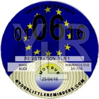EU  Car Vehicle Road Tax Disc Reminder PYLR008