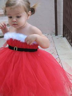 Boda de la Navidad de Santa Tutu Red Flower Girl