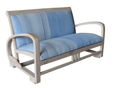 Every one of the amazing Denim Sofas is a unique piece of furniture. They are upholstered with recycled denim from jeans with the back pockets on the back of the chair, making for a handy storage pocket. The timber used for the solid timber frame is sustainable mango wood.  Width: 124cm Depth: 63cm Height: 69cm