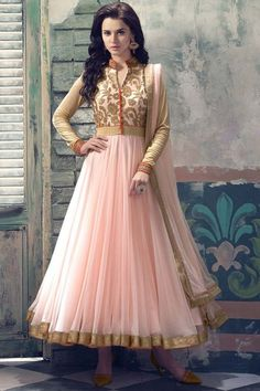 Peach Orange Soft Net Anarkali Churidar Suit Price:£ 69 Peach Orange Soft Net Anarkali churidar suit. Zari embroidered yoke with crystal work. Embroidered band collar neck ,Long length, full sleeves kameez/ top. Peach Shantoon churidar & net dupatta. Product are available in 34,36,38,40,42, 44, 46, 48 sizes.  http://www.andaazfashion.co.uk/salwar-kameez/anarkali-suits/peach-orange-soft-net-anarkali-churidar-suit-1708.html