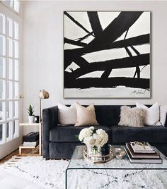 Minimalist Painting Black and White Abstract Art Large Wall Art Contemporary Modern Art Huge Oil Painting Artwork Design by Sky Whitman – Room Decor Glam Living Room, Small Living Rooms, Living Room Designs, Black And White Living Room Decor, Black And White Living Room Ideas, Black Living Room Furniture, Black Couch Decor, Black Couches, Black And White Artwork