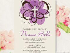 Swirl Flower  Customized Girl Baptism or Christening by blushface