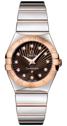 Omega Constellation Womens Brown Diamonds Dial with Rose Gold Bracelet Watch Discounted Omega Constellation Ladies, Omega Ladies, Swiss Army Watches, Seiko Watches, Beautiful Watches, Stainless Steel Bracelet, Quartz Watch, Constellations, Gold Watch
