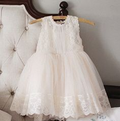 Flower girl dress Ivory lace tutu dress Baby girl by cuteflower99, $45.99