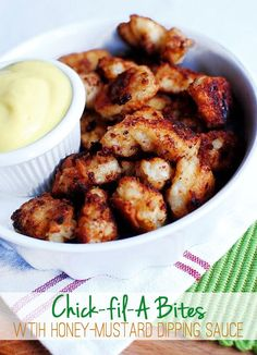 Gluten-Free Chick-fil-A Bites with Honey Mustard Dipping Sauce taste even better than the real thing. Enjoy this delicious take-out-fake-out chicken dinner at home! | iowagirleats.com