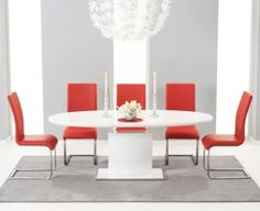 aa81ec622f83 Mark Harris Seville White High Gloss Oval Butterfly Extending Dining Set  with 6 Red Malibu Chairs - 160cm-200cm
