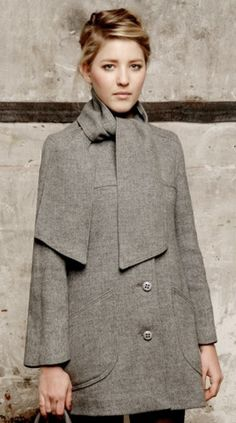 Gray Neck Wrap Coat         - Pretty Nice Style (PNS)