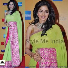Sridevi Georgette Border Work Plain Green & Pink Bollywood Style Saree - TM-8 at Rs 1573