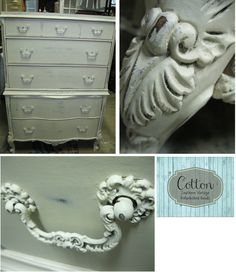 Chest of drawers painted in Annie Sloan Chalk Paint Old White and waxed with Clear Wax