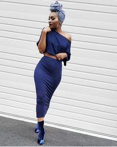 Blue Velvet Headwrap: use discount code: keke Two piece set: use discount code: kekecam Velvet booties: Fashion Look by KeKe Cameron Black Girl Fashion, Look Fashion, Autumn Fashion, Dope Outfits, Stylish Outfits, Fashion Outfits, Fashion Trends, Skin Girl, Fashion Moda