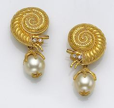 A pair of cultured pearl, diamond and twenty-two karat gold earrings, C. Tyler