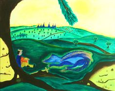 Dragon land original painting by DreamTreeWonders on Etsy