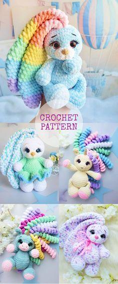 Crochet Bunny Pattern, Crochet Amigurumi Free Patterns, Crochet Animal Patterns, Stuffed Animal Patterns, Cute Crochet, Crochet For Kids, Crochet Animals, Crochet Dolls, Stuffed Animals