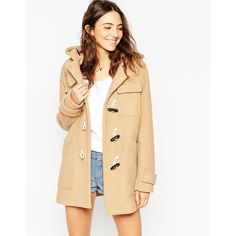 ASOS Classic Duffle Coat ($153) ❤ liked on Polyvore featuring outerwear, coats, camel, asos, camel duffle coat, asos coat, beige coat and duffle coat