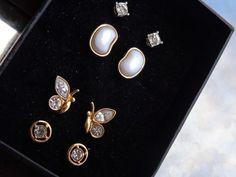 VINTAGE Designer SGD AVON Crystal Rhinestone Earrings LOT Butterfly Stud MOP?