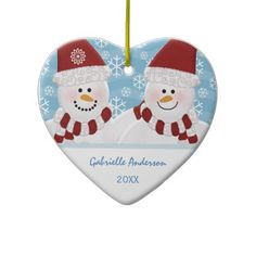 Personalized Snowman Ornament -  So cute great for anniversary, first Christmas together etc